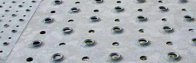 Metal placas perforado perforadas aderstop chapas for Chapa antideslizante